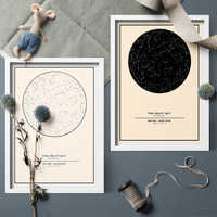Vintage Style Nordic Custom Night Sky Star Art Map Canva Painting Prints Wall Art Picture For Home Decor Custom Map Frameless