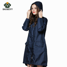 BAOBEIYY Fashion Women Raincoat Long Hooded Rainwear Sunscreen Waterproof Trench Coat Outdoor Waterproof Jacket Hiking Rain Coat