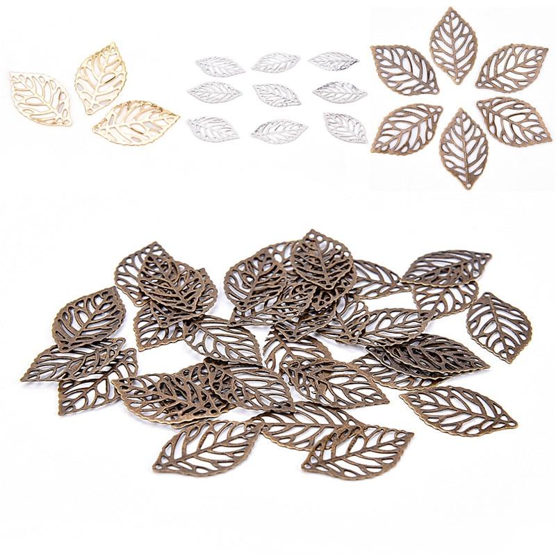 50pcs Red Copper Alloy Filigree Flower Pendants Rectangle Tibetan Charms 20x18mm