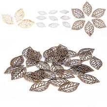 50 pieces/lot Flowers Slice Leaves Charms Setting Jewelry DIY Makings White,Gold,Bronze Antique bronze Metal Filigree(China)