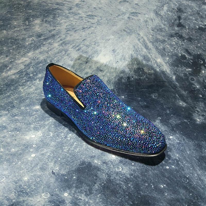 Marca de lujo para hombre mocasines de cristal de moda Slip On zapatos planos ocasionales zapatos de fiesta brillante zapatos de boda zapatos de negocios zapatos de mujer - 4