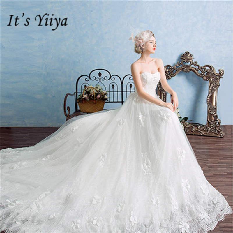 It's Yiiya Fashion Straplss Sleeveless Court Train Gowns