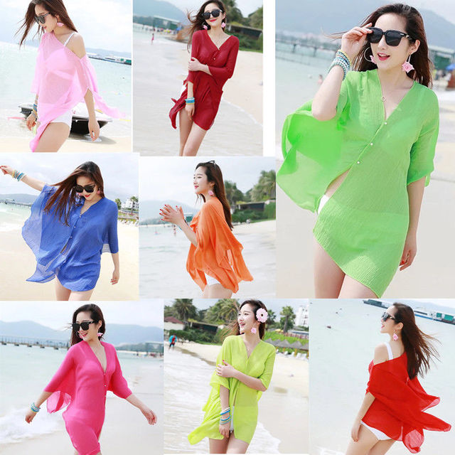 b4006e3c82077 Women Chiffon Cover-Ups Beach Wear Wrap Beach Swimwear Cover Up Bikini Scarf