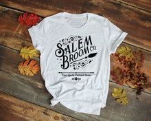 9408e3767 Salem Broom Co T-Shirt Halloween Witches Salem Graphic Tees funny slogan  harajuku tumblr 90s fashion causal soft tops goth shirt