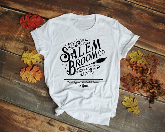 Halloween Witches Salem Graphic Tees Salem Broom Co   T  -  Shirt   Cotton Letter Slogan Tumblr Tee Grunge Trendy Vintage   t     shirts   Tops