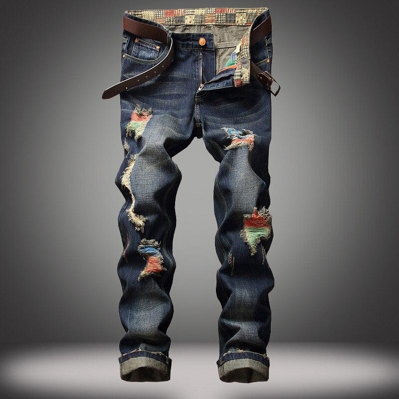 bd9149933b6 2018 Jeans de moda de la calle de los hombres de Color negro destruido Hip  Hop