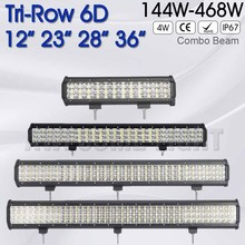 DE.SOUL 12 inch 23 inch 28 inch 36 inch 144W 288W 360W 468W 6D Tri-Row Offroad car light LED Light Bar 12v