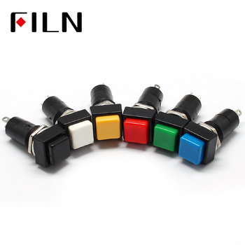 Square Momentary ON OFF Push Button Switch Red Blue Green Yellow White Black SPST Car Dash 12V 12MM PBS-11A PBS-11B 4pcs set black red green yellow 12mm mini round waterproof lockless momentary push button switch