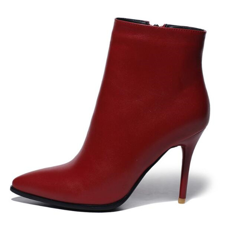 ФОТО New Fashion Autumn Winter Women Wedding Boots side Zipper Point Toe Thin High Heels Boots black wine red color big size 5-9