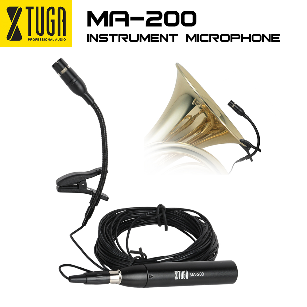 XTUGA MA200 Condenser Instrument Microphone 3 pin XLR 48V phantom power with 2 Stand Mount Clip for Saxophones piano guitar in Microphones from Consumer Electronics