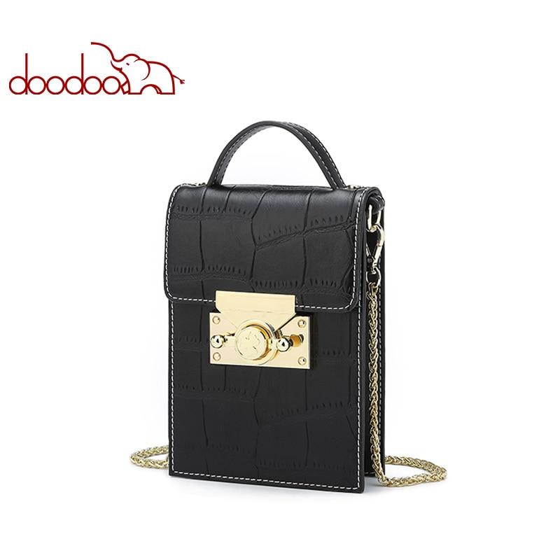 DOODOO Brand Women Shoulder Crossbody Bags Ladies Crocodile Texture Pattern Phone Bag 2018 Chain Female Messenger Bags 2 Colors-in Shoulder Bags from Luggage & Bags    1