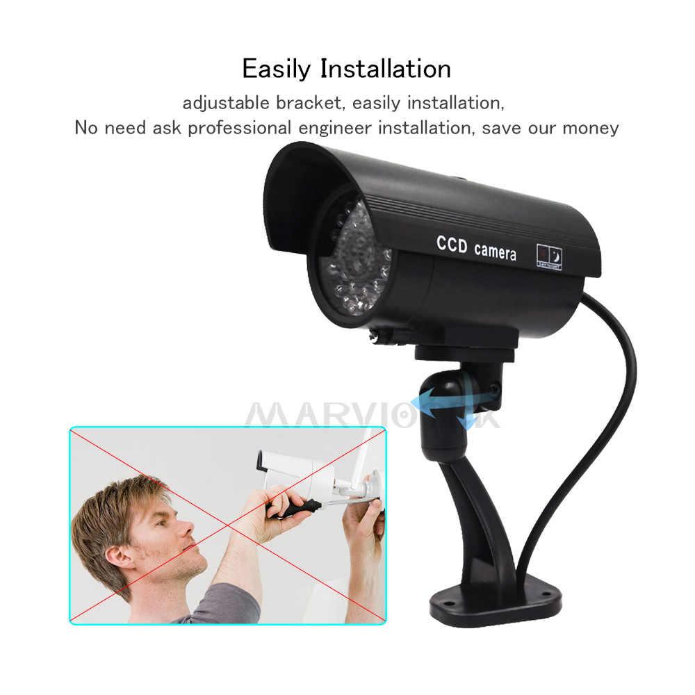 ダミーカメラ防水屋外ホームセキュリティビデオ監視 Cctv カメラ弾丸のカメラ Led ライトフェイクカメラ