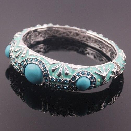 Vintage Turquoise Enamel 925 Sterling Silver Crystal Bracelet TE408