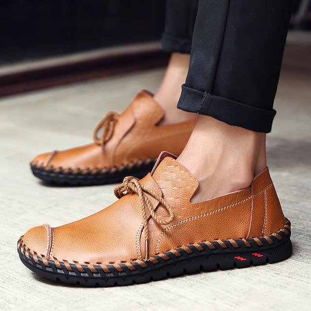 29a1f036b7a US $20.93 69% OFF|Aliexpress.com : Buy 2018 Designer Shoes Male Handmade  Leather Shoes Flats Men Lace Up Lofers Moccasins Men Casual Shoes Adult Men  ...
