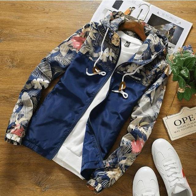 Florals Bomber Jacket Men Hip Hop Slim Fit Flowers Pilot Jacket Coat Men's Hooded Jackets US Size Free Shipping