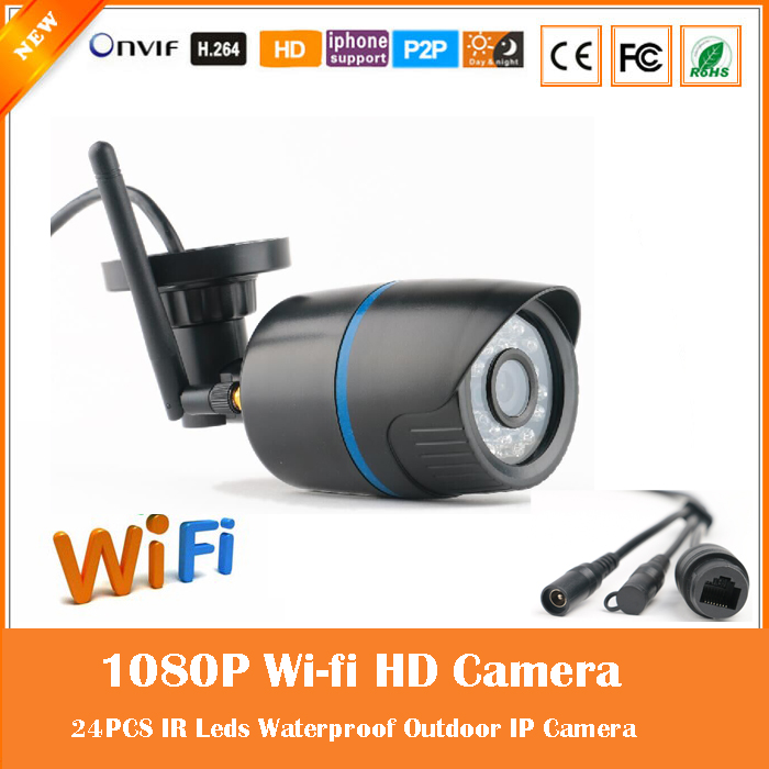2.0mp 1080p Bullet Ip Camera Wifi Wireless Surveillance Motion Detect Outdoor Waterproof Black Plastic Webcam Freeshipping Hot wistino cctv camera metal housing outdoor use waterproof bullet casing for ip camera hot sale white color cover case