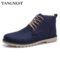 Tangnest Brand 2017 Fashion Men Winter Shoes Lace Up Ankle Boots Warm Cotton Inside Men Footwear