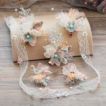 6pieces sets Brides Starry Headdress Pinecone Simulated Flower The New Fairy Wedding hair jewerly