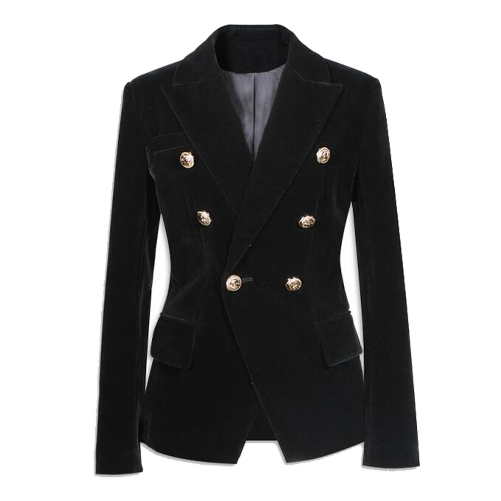 Black Velvet Blazer Women Slim Double Breasted Button -7562