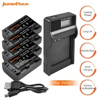 4X NP FH50 NP FH30 NP FH50 Battery+LCD USB Charger for Sony HX1 HX100 A230 A290 A330 A390 CX100E CX500E CX520E HC9E SR11E SR L20