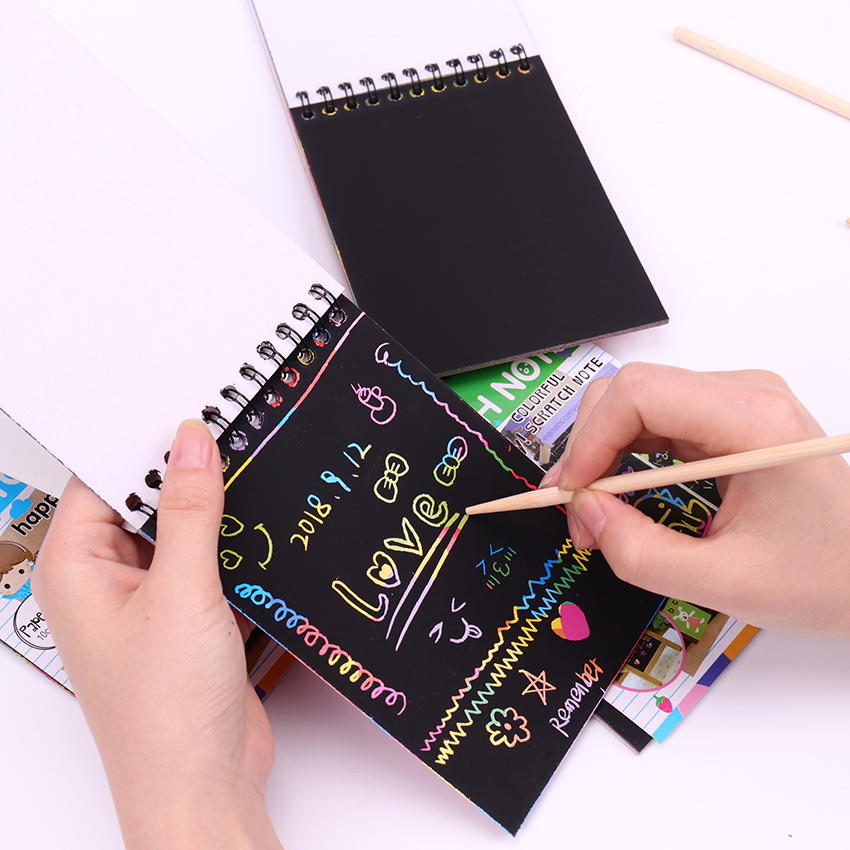 1PC Color Scratch Note Black Cardboard Creative DIY Draw Sketch Notes For Kids Toy Notebook Drawing Toys School Supplies