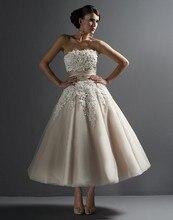 2015 short a line Wedding Dresses Bridal Gown with appliques silk belt