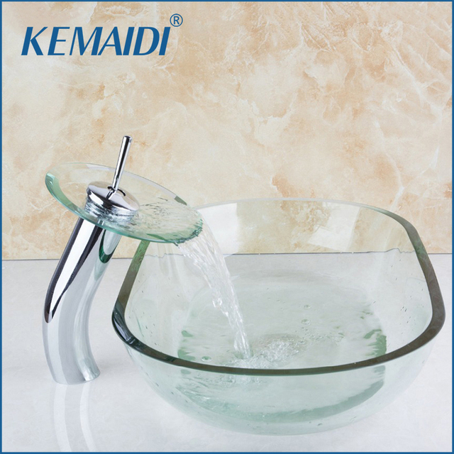 KEMAIDI Bathroom Sink Basin Vessel Faucet Tap Lavatory Glass Basin - Bathroom sink set up