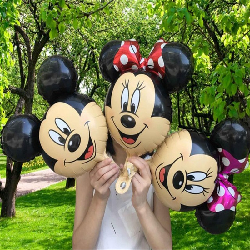 Minnie Mickey Head Foil Balloons 20pcs/lot Helium Globos Birthday Party Decorations Kids Toy Mickey Minnie Theme Party Supplies