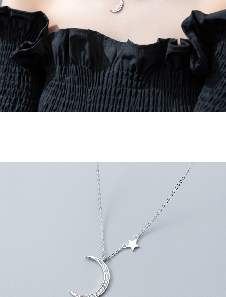 DXJEL 100% 925 Sterling Silver Moon Star Charm Pendant Necklace Fashion Boho Jewelry Choker Necklaces for Women dropshipping New