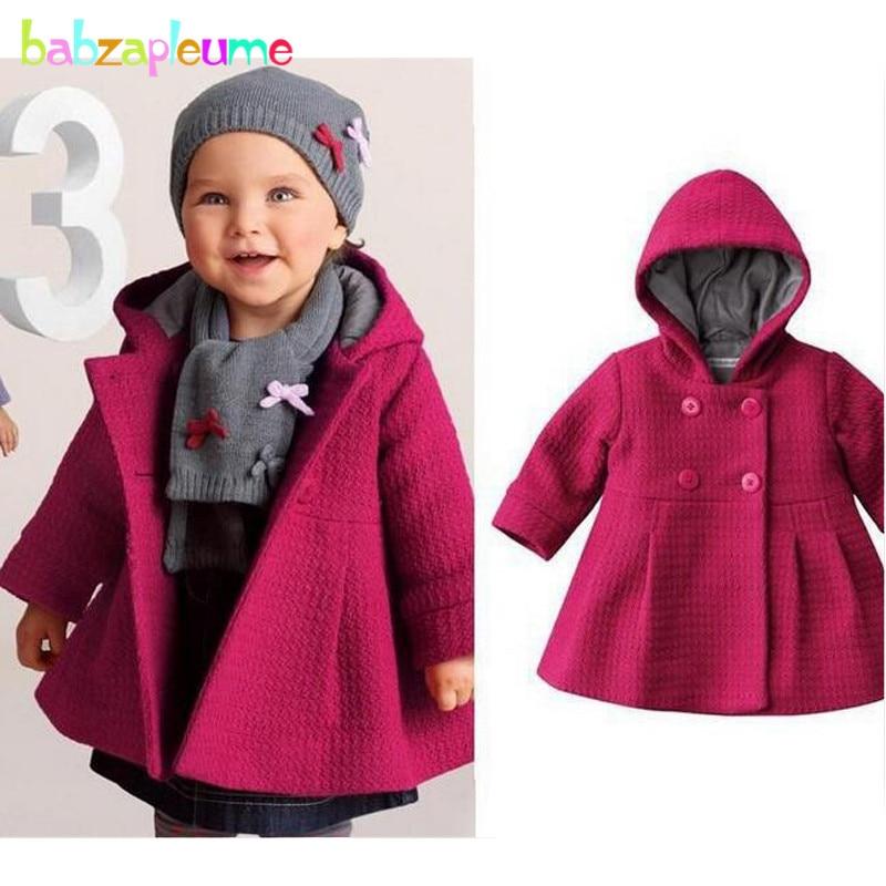 0-18Months/Outono Inverno Jaquetas Infantis Para Meninas Outerwears Casual Com Capuz Crianças Casacos Rosa Vermelha Quente Grosso Roupas Recém-nascidos BC1245