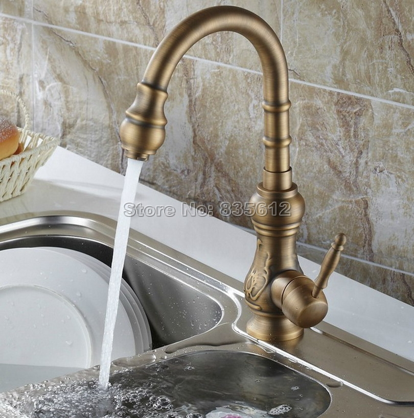 Gooseneck Swivel Spout Kitchen Sink Faucet /Antique Brass Single Hole Deck Mounted Single Handle Vessel Sink Mixer Taps Wsf080 gooseneck swivel spout kitchen sink faucet antique brass single hole deck mounted single handle vessel sink mixer taps wsf080