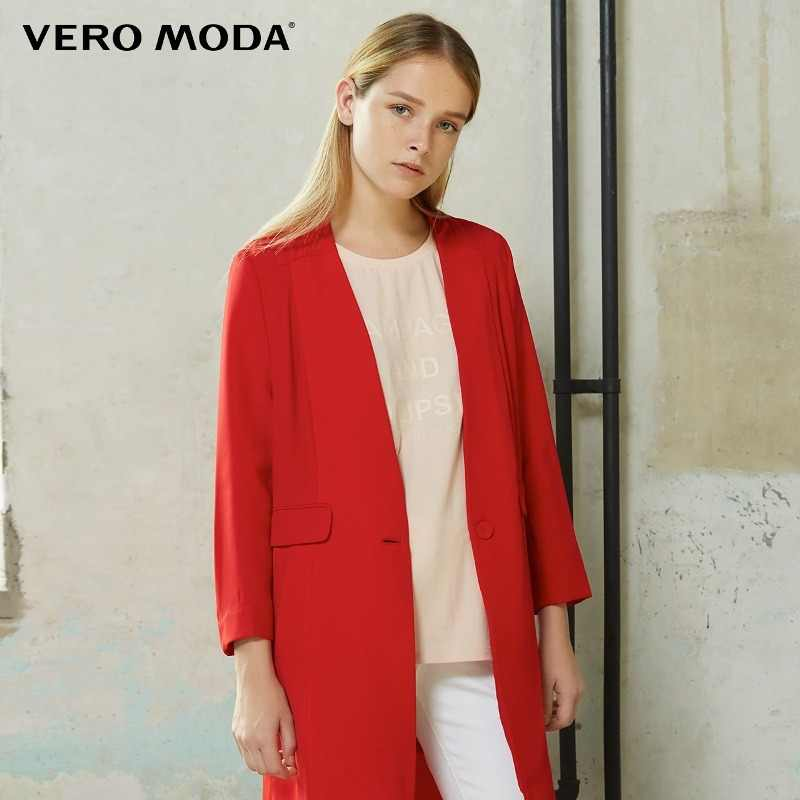 Vero Moda Brand straight solid color trench coat V-Neck single breasted three quarter sleeve chiffon women suit| 316108029
