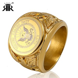 RIR Gold USA Military Ring Badge Eagle United States MARINE CORPS US ARMY Men Rings United States In Stainless Steel(China)