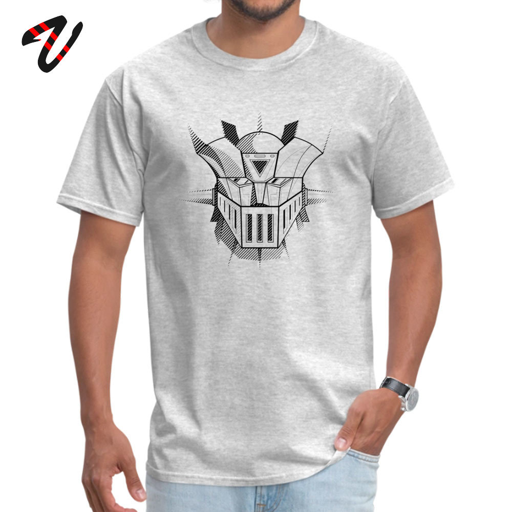 Swag <font><b>Mazinger</b></font> <font><b>Z</b></font> Stripes <font><b>T</b></font> <font><b>Shirts</b></font> Men Japan Style Robot Print Tops Tees Custom Summer Cotton Grey Punk Streetwear Cool Tshirt image