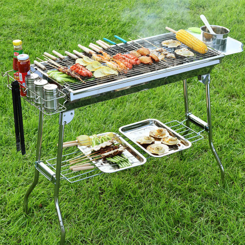 Stainless Steel Charcoal Grill Bbq Carbon Grill Outdoor Folding