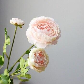 Flor artificial de seda de alta calidad con 3 cabezas de ranúnculo agradable decoración de fiesta en casa para boda