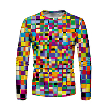 Puzzle Long Sleeve T shirt Streetwear 3D t-shirt Men Spring Autumn Rubik's Cube Multi-color Harajuku Unique Tee shirt homme цена