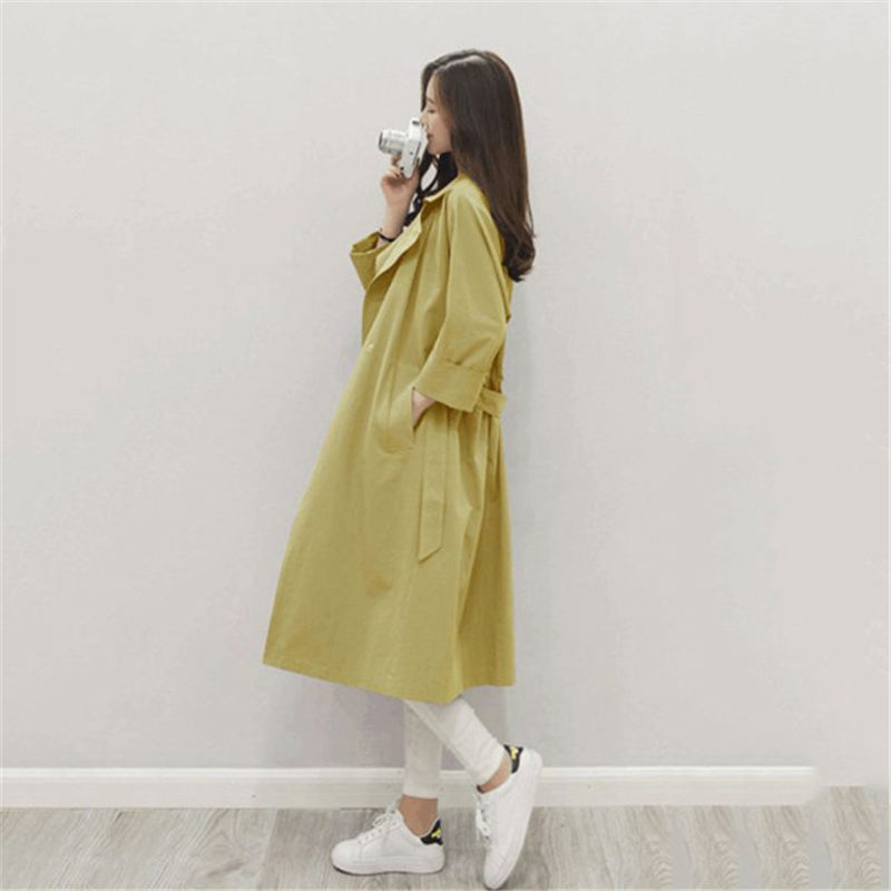 Trenchs Xi Femmes jaune Manteaux Jiu Lan Casual Femelle Revers X31 Long Lâche Echarpes Fen Printemps Tendance Taille Automne shui Shui Ouvrir Point Poches Mode qSUwnXA