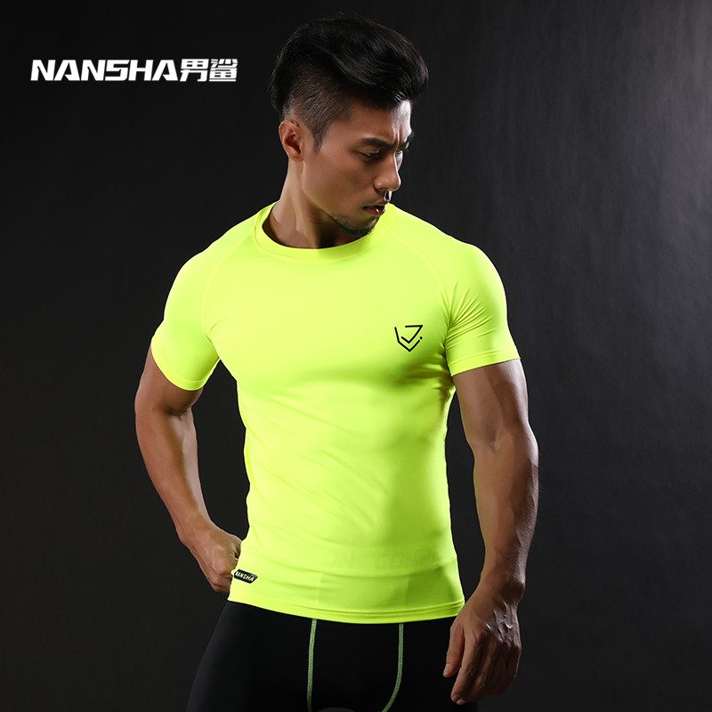 2017 NANSHA Brand Compression   Shirt   Short Sleeves   T  -  shirt   Gyms Fitness Clothing Solid Color Quick Dry Crossfit Lycra Tops