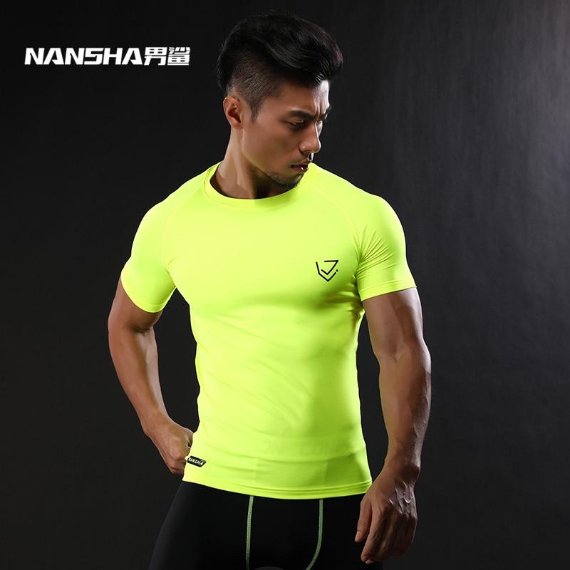 2017 NANSHA Marque Compression Chemise Manches Courtes T-shirt Gymnases Fitness Vêtements Solide Couleur À Séchage Rapide Crossfit Lycra Tops