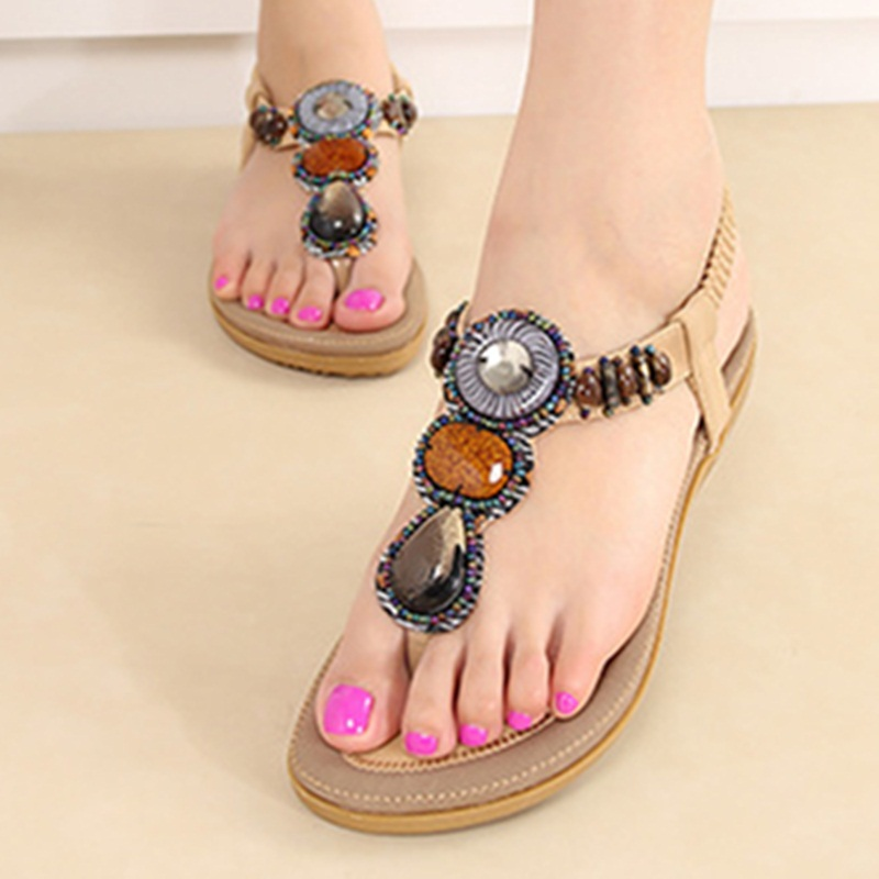 Lady's Sweet Cheap Elastic band Plus size42 41 Flats Beading Open toe Beach sandals Summer shoes School girls Zoris Flip flops plus size 34 41 black khaki lace bow flats shoes for womens ds219 fashion round toe bowtie sweet spring summer fall flats shoes
