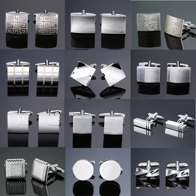 DY New High Quality Brass Plated Silver Laser Cufflinks Fashion Simple Style Men French Shirt Cufflinks Free Shipping