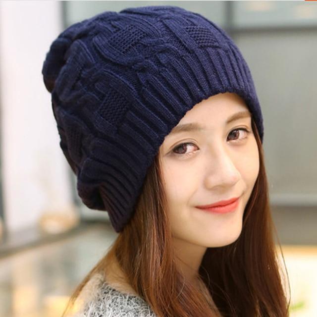 67d2669b6a7 2018 Winter Hats For Women Warm Knitted Beanies Hat Handmade Female High  Elastic Soft Caps Headgear