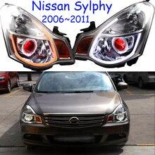 Автомобильный головной светильник для Sylphy sentra головной светильник s bluebird 2006~ 2011 года светодиодный ходовой светильник DRL s биксеноновый луч Противотуманные фары с ангельскими глазками