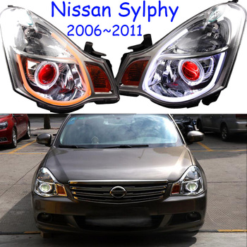 cars Head light For Sylphy sentra Headlights bluebird 2006~2011year LED DRL Running lights Bi-Xenon Beam Fog lights angel eyes