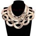 Large Jewelry Statement Gold Silver Snake Chain Bib Choker Punk Collar Pendant Fashion Necklace