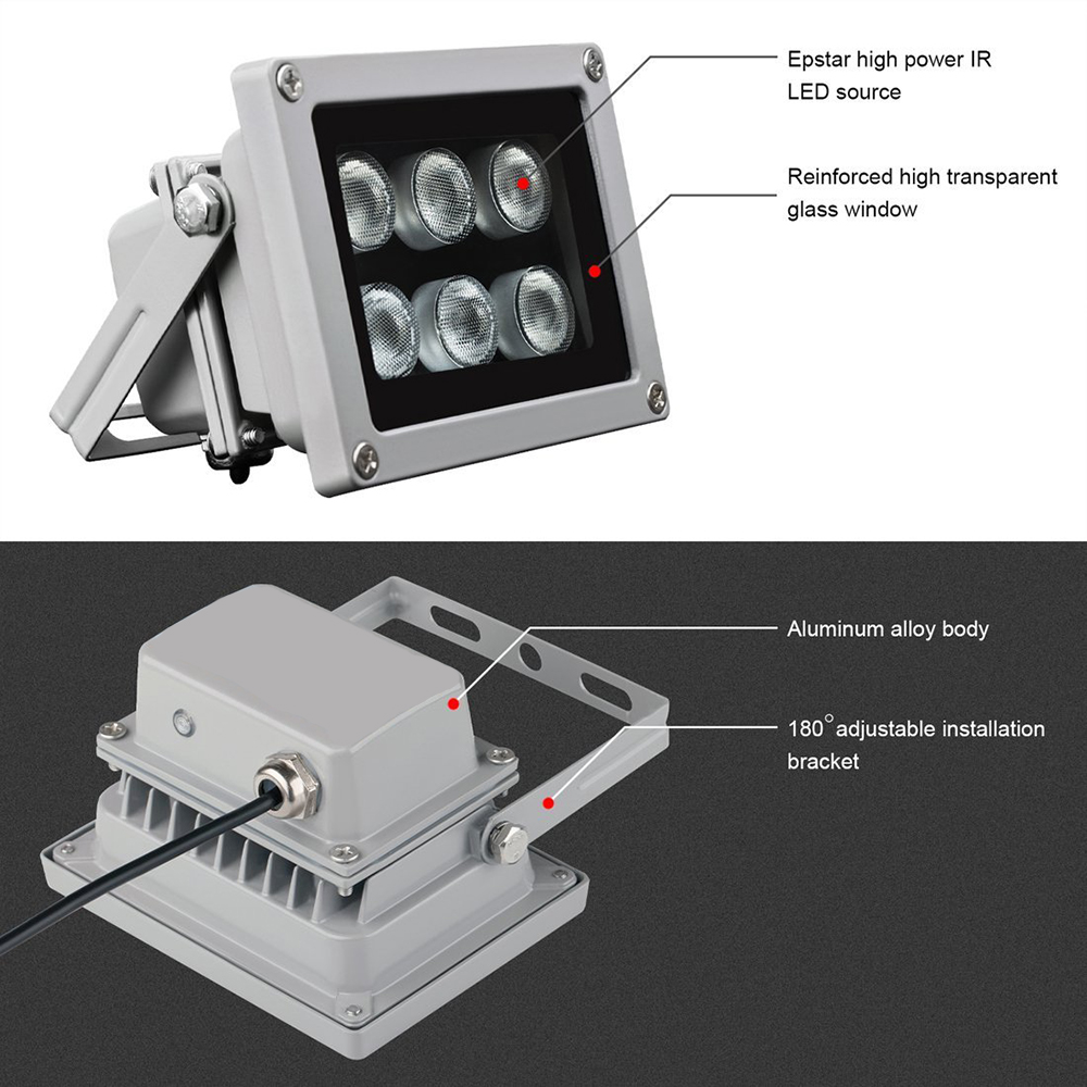 12V 6pcs Array Led IR IP65 Waterproof 90° Night Vision Illuminator Infrared Lamp
