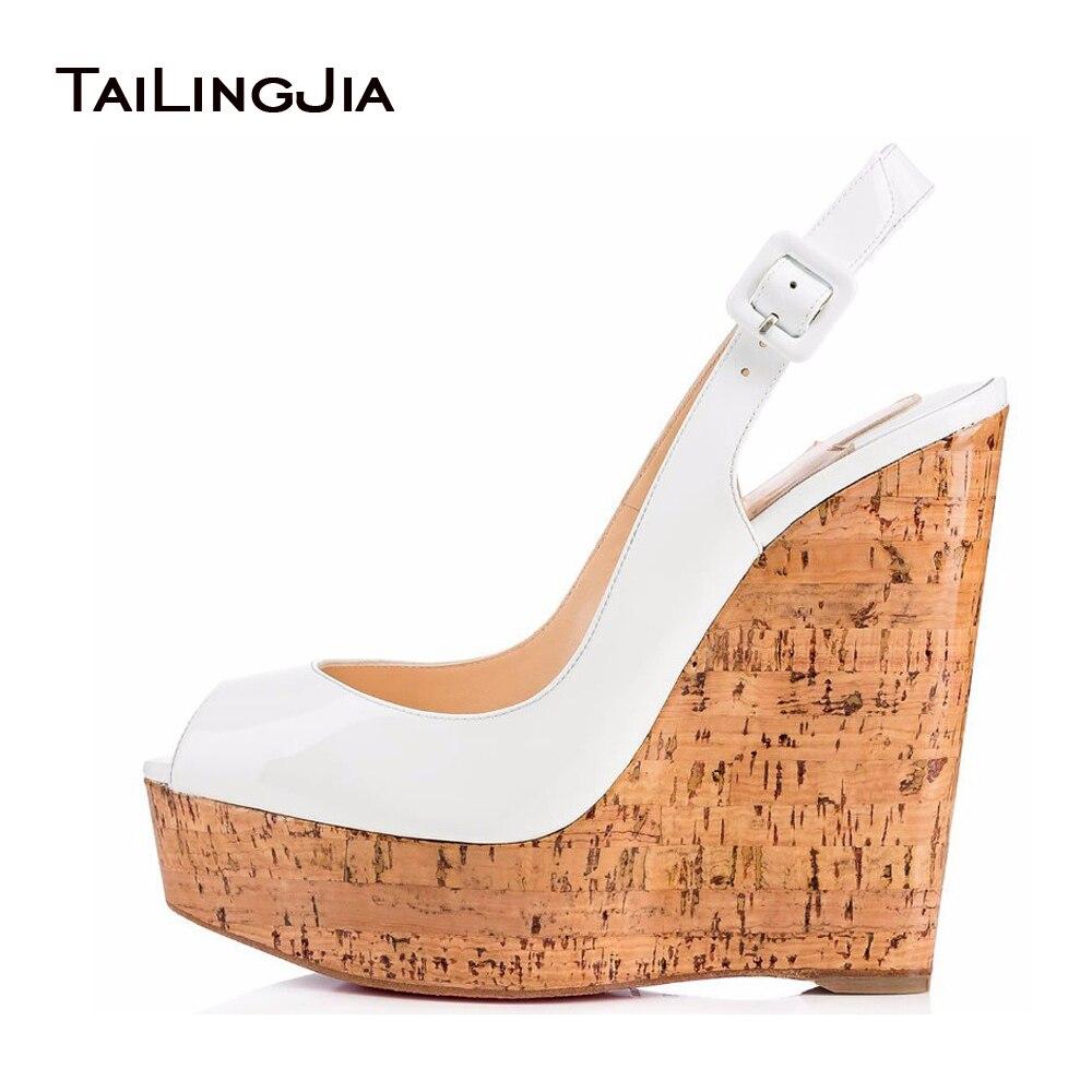Women's Shiny White Peep Toe Slingback Cork Wedge Pumps Ladies Platform Wedding Shoes Skyhigh Bridal Sandals Wholesale Plus Size эспадрильи paez flow slingback женские navy cork 0019 36