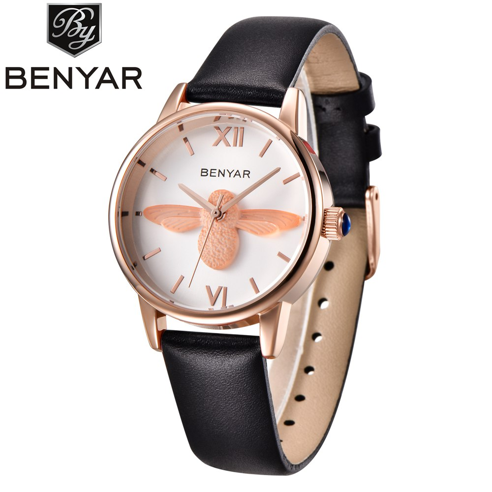 Ladies Fashion Gold Quartz Bee Watch Women Leather Casual Dress Women's Watch Girl Clock reloje mujer montre femme tezer ladies fashion quartz watch women leather casual dress watches rose gold crystal relojes mujer montre femme ab2004