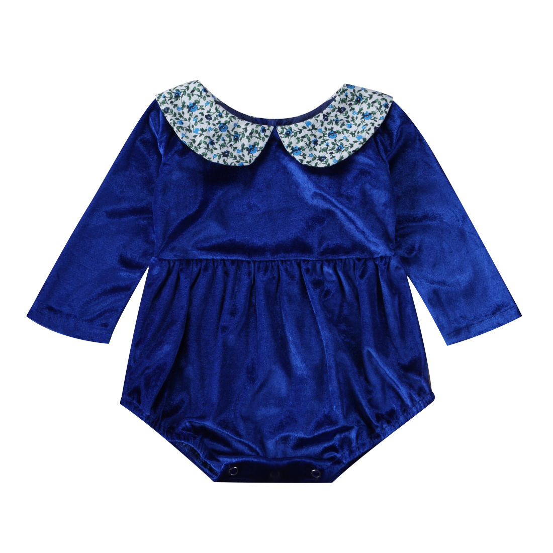 pudcoco 2017 Infant Baby Girl Princess floral peter pan Collar Long Sleeve Romper Outfit Clothes